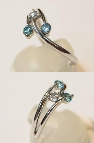 新品 送料無料! Pt900製ブルー ダイヤ 0.3ct トリオ スリム デザイン リング//プラチナ/天然石 指輪/込み/青/値下げ 在庫処分/即決有り_スリムなシルエットですが重量感あります。