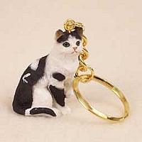 ●猫 白黒 キャットフィギュア付キーチェーン 黒白ネコ●_画像1