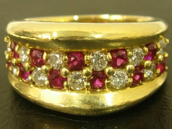 0.58ctルビー×0.46ctダイヤモンドリング K18YGイエローゴールド13号9.7gダイヤ宝石指輪Vバンド18金GOLDワイドバンドRubyパヴェdiamond #53_0.58ctルビー×0.46ctダイヤモンドリング
