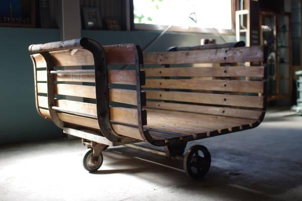 古い大きな台車▼アンティークインダストリアル陳列什器工業系ガーデニングプランター_画像1