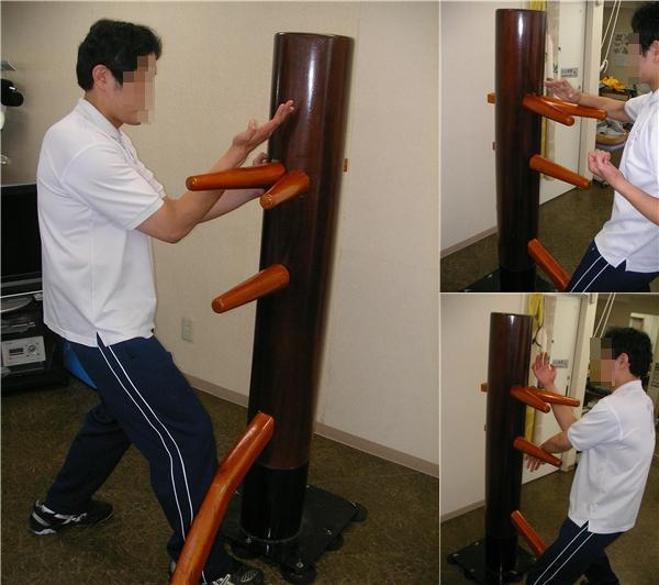 ▽詠春拳で使用! 吸盤固定式自立型木人椿 スタンダード△_独特の打ち応えがあります!