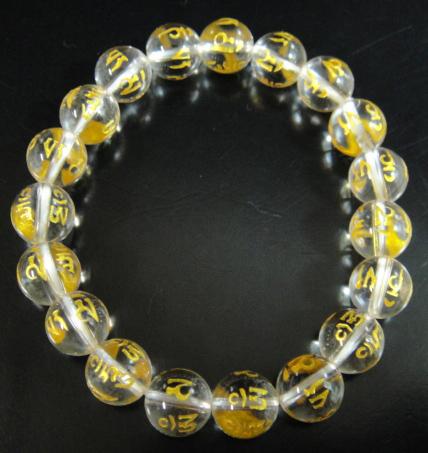 天然石水晶★金彫り六字真言10mm玉ブレスレット_画像3
