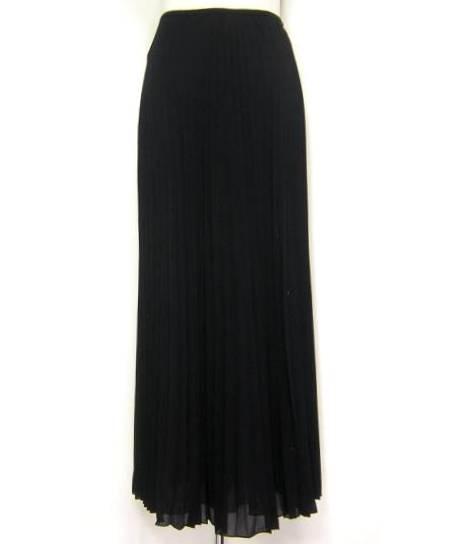 美品 Emanuel Ungaro エマニュエル・ウンガロ イタリア製 シルクプリーツ ロングスカート ブラック