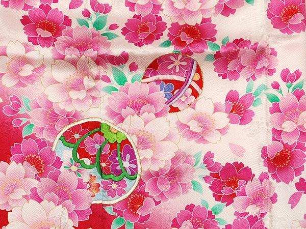 ☆★新品★☆七五三☆七歳用☆正絹振袖着物☆白・ピンク【806】_画像3