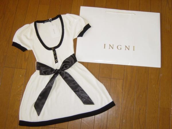 新品イング★バイカラー リボン半袖ニット チュニック白&黒INGNI_画像1