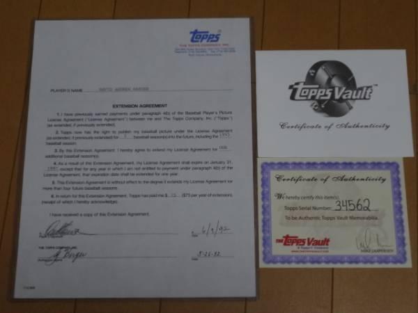 阪神タイガース デーブ・ハンセン直筆サインTopps契約書 グッズの画像