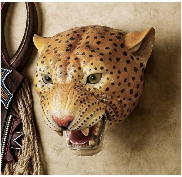 豹・チーター 剥製風壁掛けハンティングトロフィー野生動物肉食獣インテリアネコ科動物アフリカ壁飾りエスニック雑貨飾りフィギュア彫刻