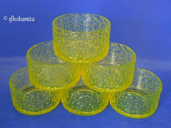 VASELINE GLASS ウランガラス・1セット6器のデザートボウル