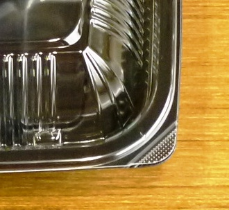 使い捨て弁当容器 4つ仕切 黒 230×196×27(27)mm 50枚_外嵌合蓋