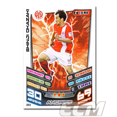 【MA13-14】岡崎慎司(日本代表) マインツカード 13-14 サッカーカード 清水エスパルス_画像1
