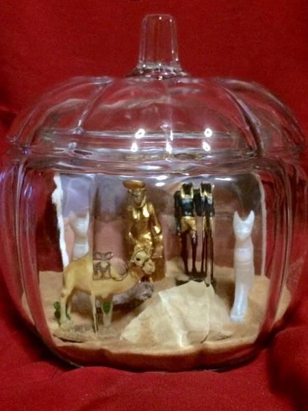★サハラ砂漠 テラリウム ガラス エジプト 神 ラクダ フィギュア インテリア 置物 コレクション_画像1