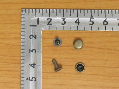 カシメ中片面足長 アンティーク 頭7mm足8.5mm 100個セット金具屋_画像1