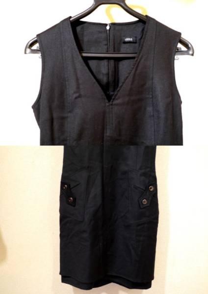 美品◆VERSUS VERSACE ヴェルサーチ ウールワンピース ドレス 黒◆
