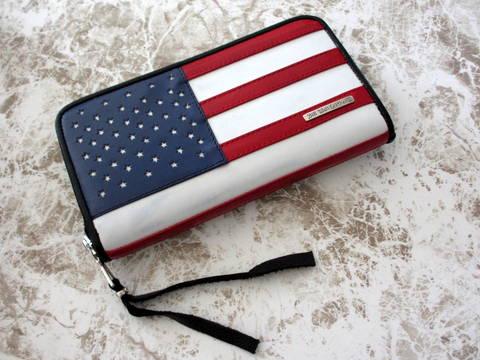 即決 新品 BWL ビルウォールレザー アメリカンフラッグ 星条旗 ラウンドジップ ジッパー ウォレット 長財布 1点もの カスタム