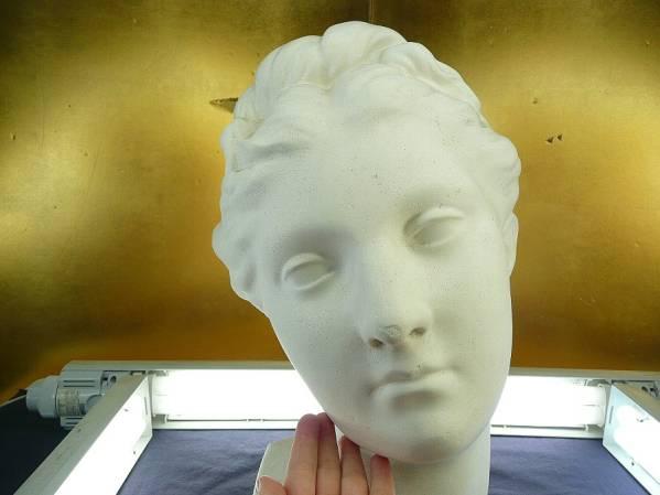 高さ約40cm/壁掛け半身/デッサン/石膏像/少女/欧州貴婦人/鼻小欠_画像2