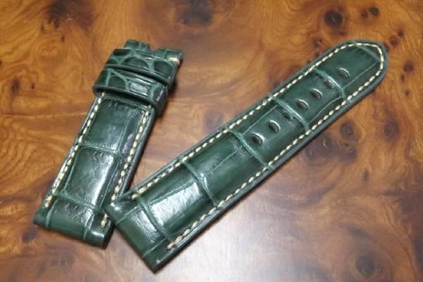 24mm-22mm手縫いアリゲーター(クロコダイル) PANERAI パネライ向 無双★ A932