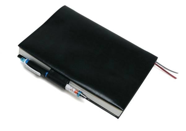 送料込み★お手入れいらずのリサイクルレザーブックカバーほぼ日カズン手帳対応★ペンホルダーと栞紐付★手帳カバー★クロムグリーン_シンプルで使いやすいブックカバーです