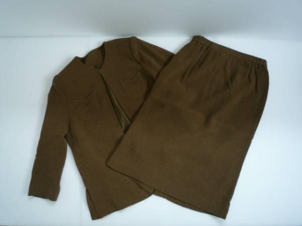 【美品!!】◆スーツ上下セット◆ 茶 衿なし 11BR