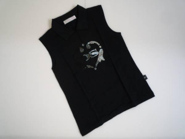 【良品!!】◆DEARNESPARK◆ ポロシャツ 黒 ゴルフ 2 袖なし