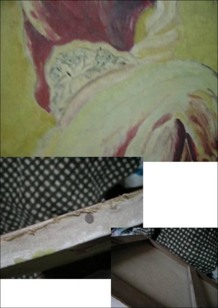 送料無料 仏画 程度普通  約45×53cm 仁王 写仏 仏教 一般の方の絵かと かなり古いもの_画像3