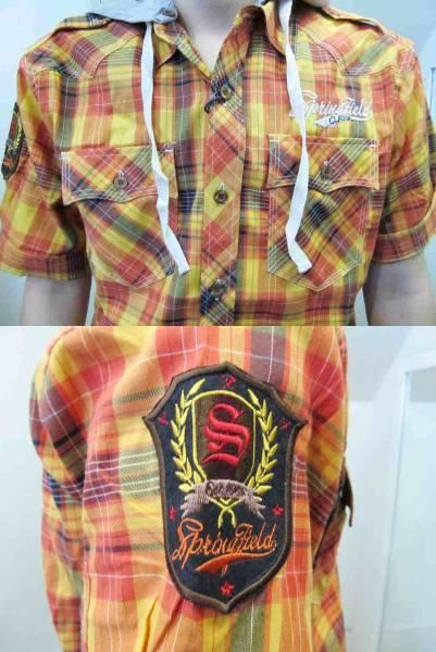 Z47)RAWBLUEフード付デザイン入りチェック柄シャツ半袖/オレンジ/M/L/USサイズ_画像2