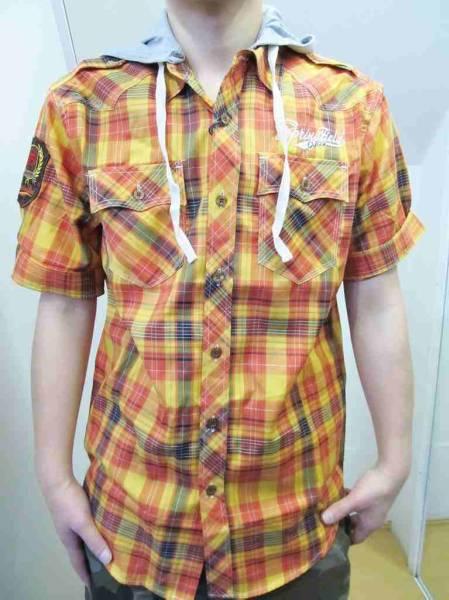Z47)RAWBLUEフード付デザイン入りチェック柄シャツ半袖/オレンジ/M/L/USサイズ_画像1