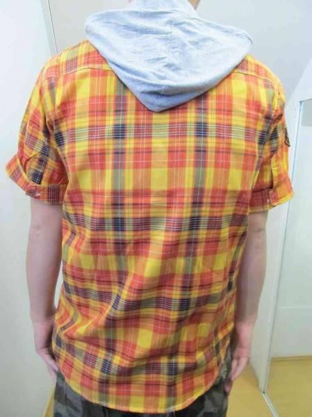 Z47)RAWBLUEフード付デザイン入りチェック柄シャツ半袖/オレンジ/M/L/USサイズ_画像3