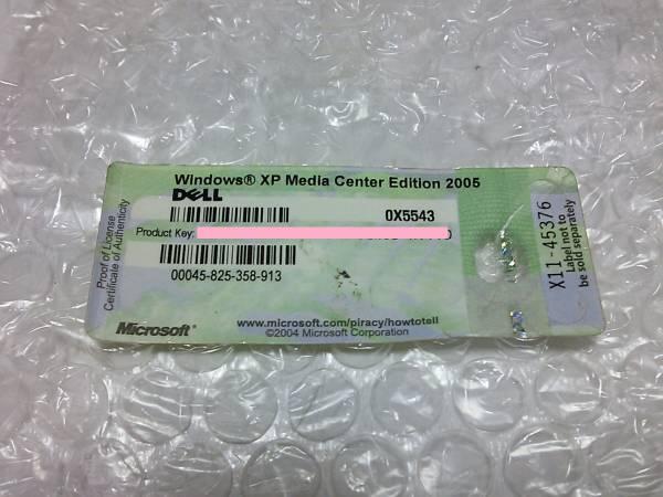 ◇Windows XP media center edition 2005 DELL プロダクトキー 現物シール◆PC整備・動作確認済み_画像1