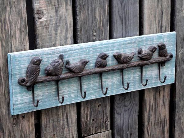 アイアン ◆ バードフック ◆ (幅46cm 高さ14cm 木板付) 送料込み