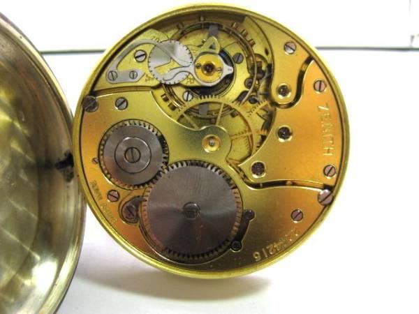 ゼニス 純銀 手巻き 懐中時計 【黒いエナメル文字盤】_画像3