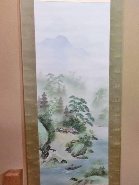 掛軸■青様山水之図 広陽作 山水 船 共箱 肉筆 日本画 絹本 掛け軸■(45)_画像2