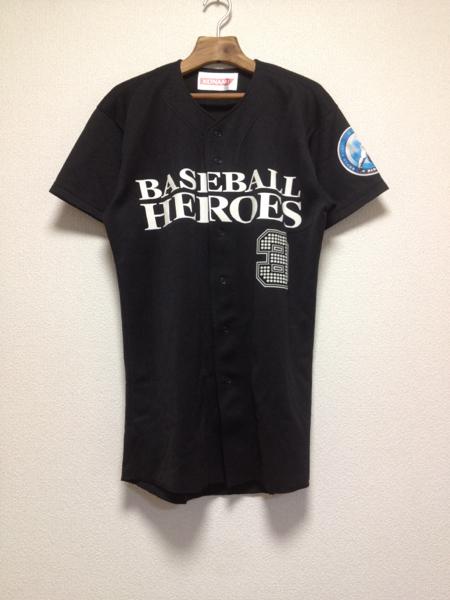 [即決古着]BASEBALL HEROES 3/ベースボールヒーローズ3/KONAMI/コナミ/ベースボールシャツ/半袖/ロゴ/黒/ブラック