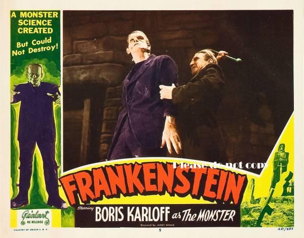 1931年 映画 フランケンシュタイン ボリス・カーロフ ロビーカード3枚 付き