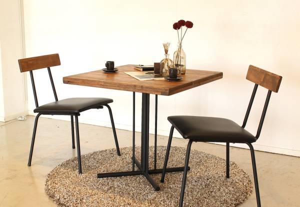 送料無料 アイアンと使う程馴染む 古木調に仕上げた パイン無垢材の USED感のあるカフェ風テーブルとチェア2脚セット