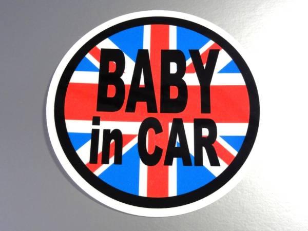 BC●イギリス国旗BABY in CARステッカー 7.5cmサイズ●赤ちゃんが乗ってます☆かわいい円形 車に EU(1_画像1