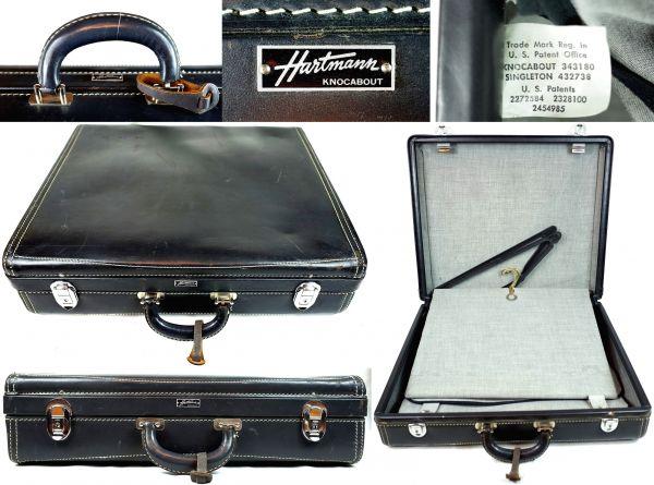 Hartmann・ハートマンVtg.『KNOCKABOUT』本革 ウッドボックス・オールレザー・スーツケース 【アスファルト】_画像3