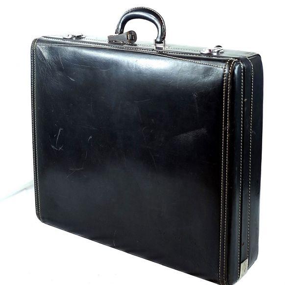 Hartmann・ハートマンVtg.『KNOCKABOUT』本革 ウッドボックス・オールレザー・スーツケース 【アスファルト】_画像1