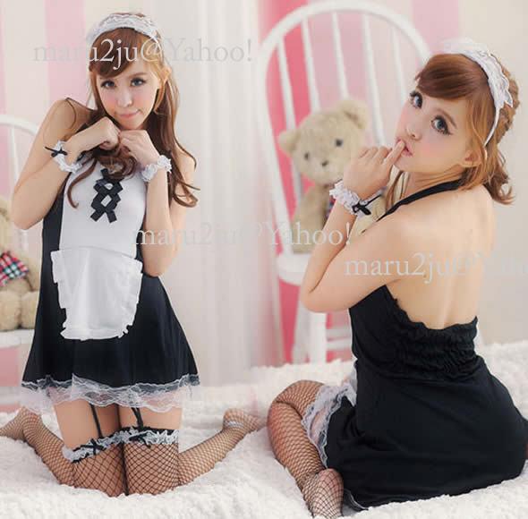 Deadline garter with a mini skirt maid / Costume / Lolita ☆ black MAI-10