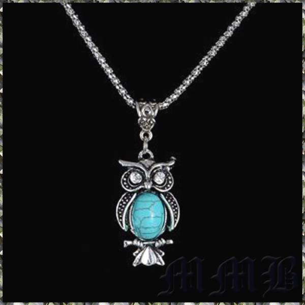 Vintage チベットSILVER フクロウ ミミズク Turquoiseネックレス
