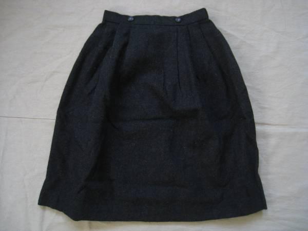 【良品!】●CINbella●ひざ丈ウールスカート 濃グレー W60