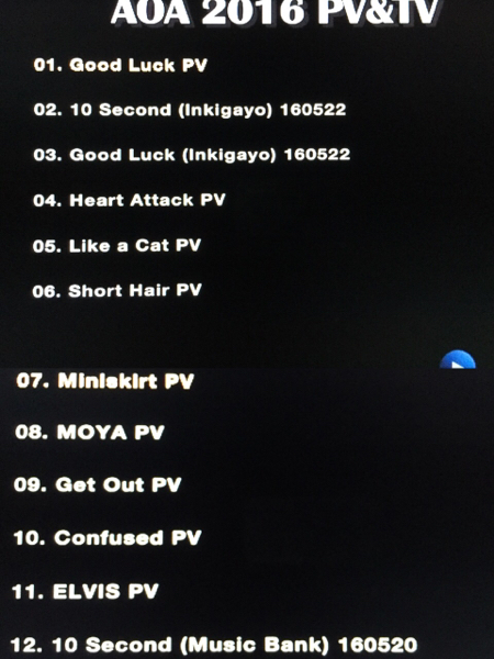 AOA PV&TV 2016 DVD GOOD LUCK レーベル有・即決・送料込み