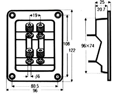 ☆スピーカーターミナル2連 T-122 (1個)バイワイヤリング 自作スピーカー コンキャビティ型_画像3