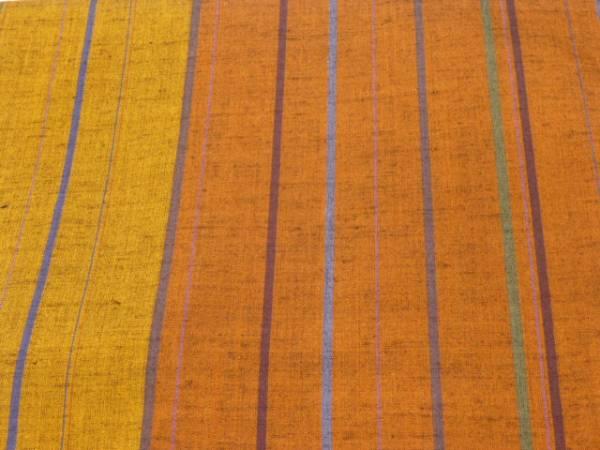 新品正絹★茨城県・奥順製・本真綿結城紬着尺★茶色地に縞柄です_画像2