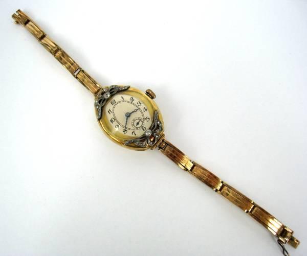 【アンティーク】 ダイヤモンド トノーシェイプ 14金 腕時計_画像2
