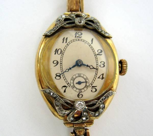【アンティーク】 ダイヤモンド トノーシェイプ 14金 腕時計_画像1