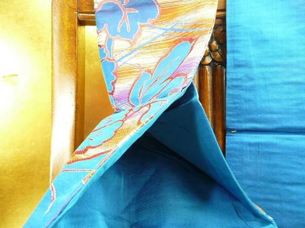 A_即決値下げ/名古屋帯/青地に牡丹に菱/鮮やか/長約340cm/折り型有_画像3