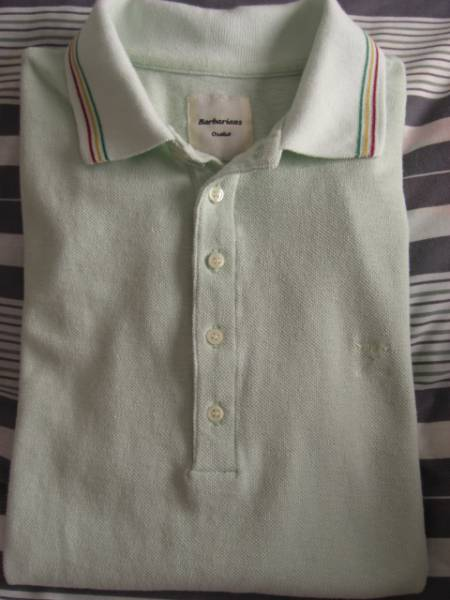 Barbarians Osaka 薄グリーン 半袖ポロシャツ L 日本製 美品 綿100%_特価即決