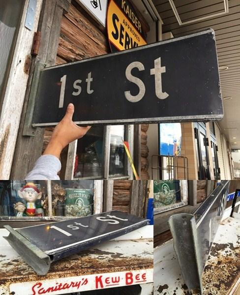 ビンテージオリジナル 1stストリートサイン道路標識看板_画像2