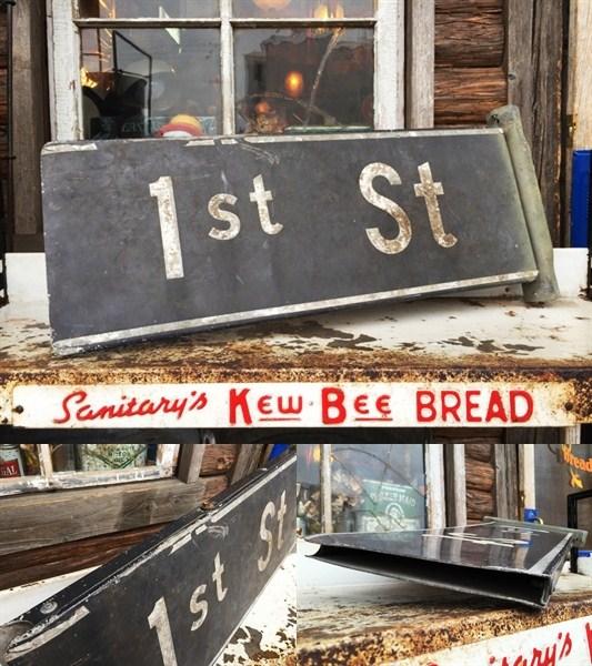 ビンテージオリジナル 1stストリートサイン道路標識看板_画像3