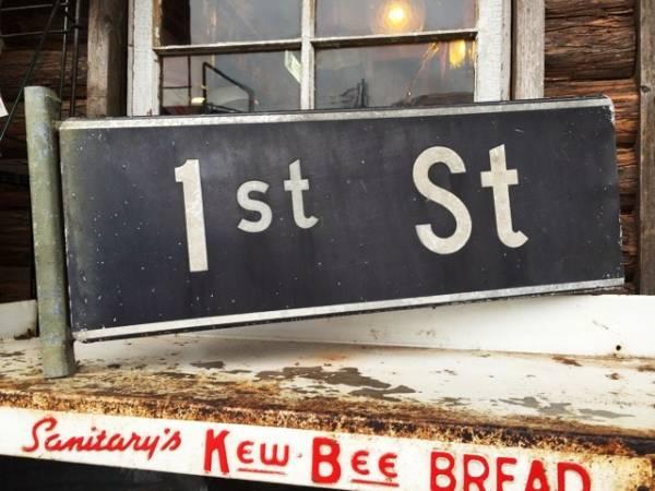 ビンテージオリジナル 1stストリートサイン道路標識看板